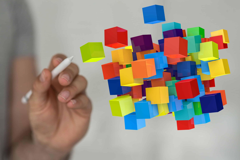 Abstrakte Darstellung verschiedener Gamification Elemente die in der Luft schweben